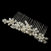 Bethany Silver Freshwater Pearl, Rhinestone & Bugle Bead Hair Comb Wedding Bridal Special Occasion