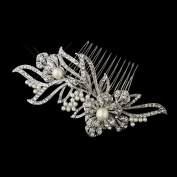 Milady Antique Diamond White Pearl & Rhinestone Floral Vine Comb Wedding Bridal Special Occasion