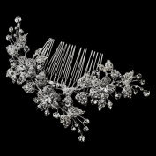 Val Antique Rhodium Silver Clear Rhinestone Floral Vine Wedding Bridal Special Occasion Comb