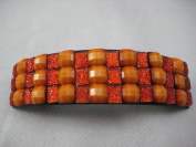 Amber Sparkly Rectangle Curved Barrette Hair Clip 9.2cm long Faceted Crystal Beads