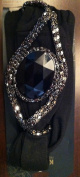 Black Faux Oval Stone with faux silver stone Headband