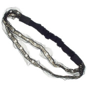 Karina - French Couture Retro Double Chains Fishnet Headwrap - Black/Gold #K10776X1
