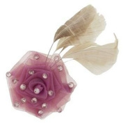 Tarina Tarantino - Fashion Couture - Iconic Collection - Organza Rose Anywhere Clip w/Crystals & Feather - Rose #AC03S9-111