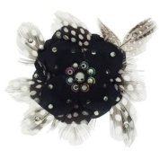Tarina Tarantino - Fashion Couture - Iconic Collection. Crystal Small Poppy Flower & Feather Anywhere Hair Clip - Black Diamond #AC04S9-712