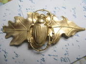 Bridal Hair Barrette Egyptian Scarab Leaf Artisan Crafted Hair Clips Hair Jewellery