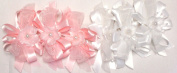 Set of Six Pink and White Colour Ribbon Bows Hair Clips on French Barrettes for Women and Teens