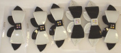 Set of Six Synthetic Hair Clips with Crystals Bow on French Barrettes for Women and Teens