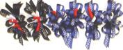 Set of Six Multicolor Shiny Satin Polkadot Ribbon Bows on French Barrettes Hairclip for Women and Teens