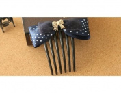 SaveGoodBuy 2pc Lady Fashion White Polka Dot Blue Satin Golden Bowknot Hair Comb Decorative Comb Set for french braid hair beauty styling tool