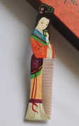 """Wood Comb, Beautiful Fashion . Multi Colour Beauty (Name """" Gui Fei """") Hand Craft, Master Hand Painted Boxwood Hair Comb, or Home Decoration and Artist Collection"""