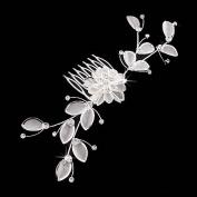 Bridal Wedding Jewellery Crystal Rhinestone Mesh Floral Leaf Drape Hair Comb Pin