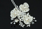 Bridal Wedding Ivory Fabric Pearl Handmade Hair Clip