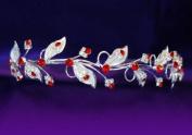 Bridal Wedding Leaf Leaves Red Crystal Tiara