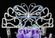 Bridal Wedding Pageant Butterfly Blue Crystal Tall Tiara