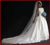 (Ship From USA) 1 Tier Cathedral. Crystal Rhinestones Bridal Wedding Veil Satin Edge