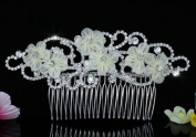 Bridal Wedding Ivory Fabric Flower Crystal Handmade Hair Comb