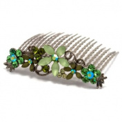 DoubleAccent Hair Jewellery. Crystal Hair Comb with Frosted Flowers Green Colour
