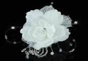 Bridal Wedding Ivory Flower Fabric Crystal Handmade Hair Comb