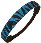 Glitter Headband Teal and Black Zebra by Kenz Laurenz - Elastic Stretch Sparkly Fashion Headbands for Teens Girls Women Softball Pack Volleyball Basketball Set Sports Teams Store