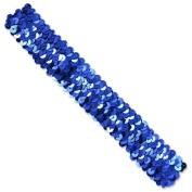 3 Row 3.2cm Metallic Stretch Sequin Headband - Royal Blue