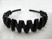 Beautiful Black Headband adorned w/ Black Square Decorations 2.5cm Wide, New!!!