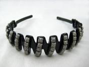 Beautiful Black Headband adorned w/ Grey Square Decorations 2.5cm Wide, New!!!
