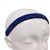Fashion Jewellery ~ Hair Accessory ~ Blue Square Rhinestones Crystals Stretch Head Band