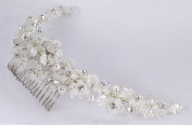 """Charming hand-wired bridal comb of pearls in silver """"clam shells"""", leaves of bugle beads, and flowers of crystal. rhinestone and frosted beads for Wedding, Prom, Quinceañera or Other Special Events #82E8wh"""