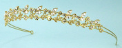 Charming Double-row Tiara Headband of Rhinestone-embellished Flowers & Leaves, Accented with Marquise Rhinestones #81C61gd