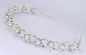 Delicate Bridal Wedding Headband Tiara of Pearl-Centred rhinestone flower motifs for Wedding, Prom, Quinceañera or Other Special Events #84CHws