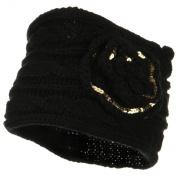Sequin Flower Knit Head Band - Black