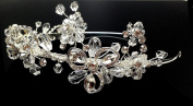 iPhashon Silver Wedding Pageant Crystal Tiara Floral Flower Headband Headpiece H810