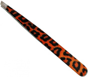 High Quality Stainless Steel Slant Tweezer, Cheetah Print - Used By Professionals