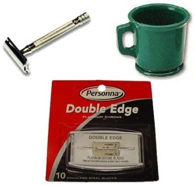 Shave Mug, Razor And Blades Combo Includes:rubber Shaving Mug, Merkur Razor #180 And 10-blades