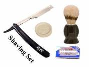 Barber Razor, Brush, Soap & 10 Dorco Blades 4 Pcs Shaving Set