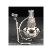 Shave Shaving Four (4) Piece Set BB12 with Mach 3 Razor, Badger Shave Brush, Bowl & Stand-Silver Plated