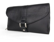 Bosca Tribeca Leather Deluxe Hanging Toiletry Kit - Black