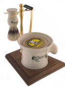 Colonel Conk Model 239 5-Piece Apothecary Mug Shave Set with Gold Tone and Wood Stand, Deluxe Boar Brush, Super Bar, and Gold Tone Razor