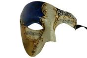 Gold Lining Musical Blue Venetian Half Masquerade Mask Phantom Design