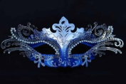 Vintage Venetian Swan Princess Inspired Design Laser Cut Masquerade Mask - Finely Decorated and Intricately Detailed - Blue and Silver