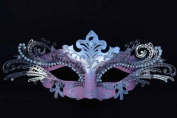 Vintage Venetian Swan Princess Inspired Design Laser Cut Masquerade Mask - Finely Decorated and Intricately Detailed - Pink and Silver