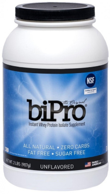 BiPro Whey Protein Isolate, 2lb. (41 Servings), Unflavored, NSF Certified for Sport®