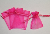 36 Organza Favour Gift Bags - 7.6cm x10cm - Hot Pink