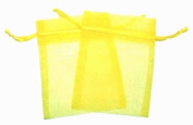 36 Organza Favour Gift Bags - 7.6cm x10cm - Yellow