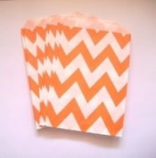 Chevron Stripe Orange Food Treat & Favour Paper Bags 12 Pack 5X7-Twilight Parties-
