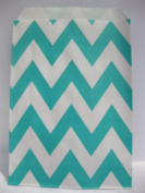 Chevron Stripe, Aqua, Food Treat & Favour Paper Bags 12 Pk 5X7 - Twilight Parties