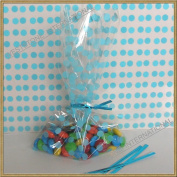 "25pcs 13cm x20cm ""Polka Dot Blue"" Gift Cello Bag + Twist Ties"