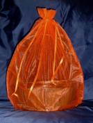 Organza Sheer Basket Bag Gift Pouch-60cm x60cm - Red - Gift Baskets