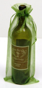 6 Olive Green Organza Bags - Bottle/Wine Bags Gift Pouch, 15cm x 36cm