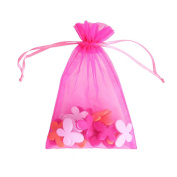 "Hot Pink 4x6"" 10x15cm Drawstring Organza Pouch Strong Wedding Favour Gift Candy Bag"